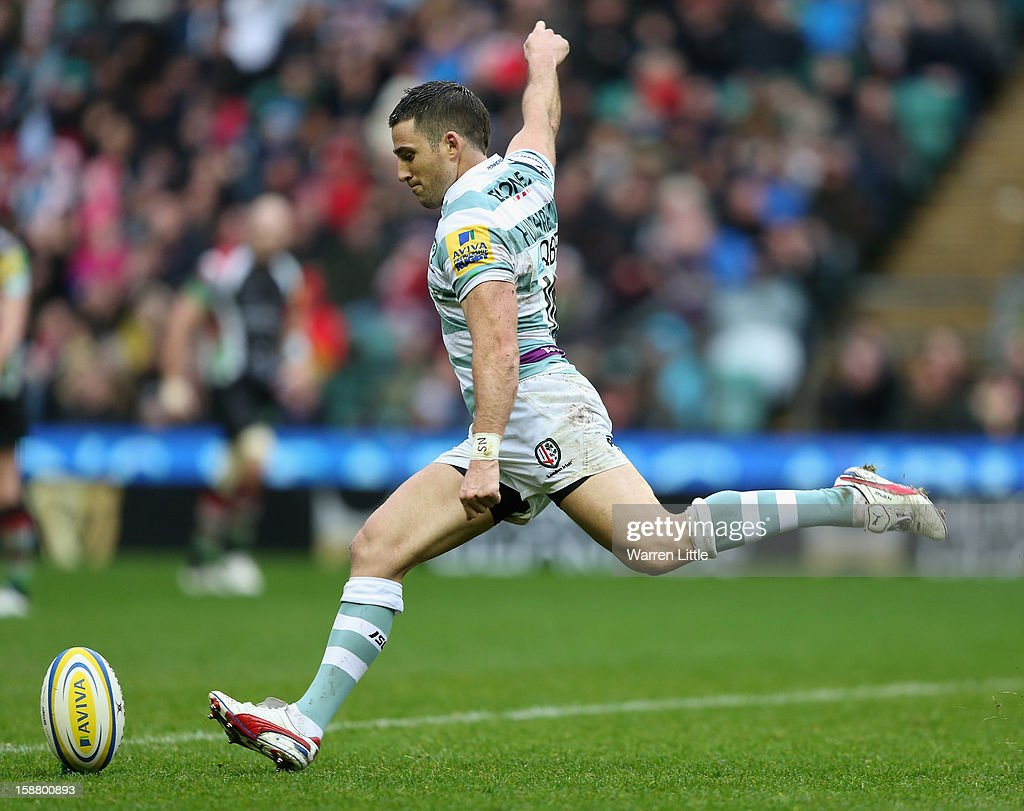 Ian Humphreys of London Irish kicks during the Aviva Premiership match between Harlequins and London Irish at Twickenham Stadium on December 29, 2012 in London, England.