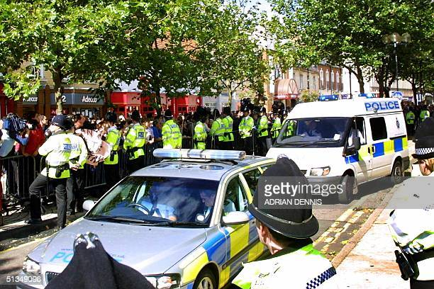 Ian Huntley is driven away in a police van after making an appearance at Peterborough Magistrates Court 10 September 2002 More than 50 police...