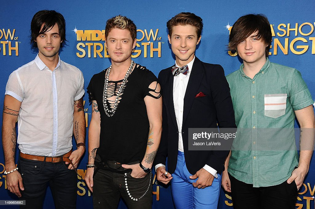 Ian Keaggy, Nash Overstreet, Ryan Follese and Jamie Follese of Hot Chelle Rae attend the MDA Labor Day Telethon at CBS Studios on August 7, 2012 in Los Angeles, California.