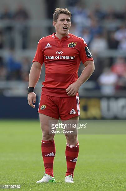 Ian Keatley of Munster during the European Rugby Champions Cup match between Sale Sharks and Munster at AJ Bell Stadium on October 18 2014 in Salford...