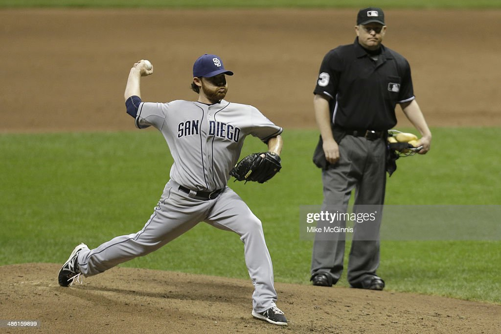 Ian Kennedy #22 of the San Diego Padres pitches after stretches a muscle in his leg during the bottom of the fifth inning against the Milwaukee Brewers during the game at Miller Park on April 22, 2014 in Milwaukee, Wisconsin.