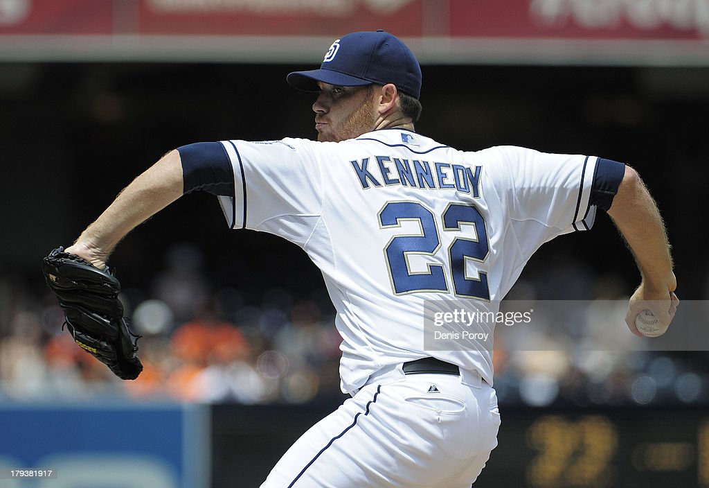 Ian Kennedy #22 of the San Diego Padres pitches during the first inning of a baseball game against the San Francisco Giants at Petco Park on September 2, 2013 in San Diego, California.
