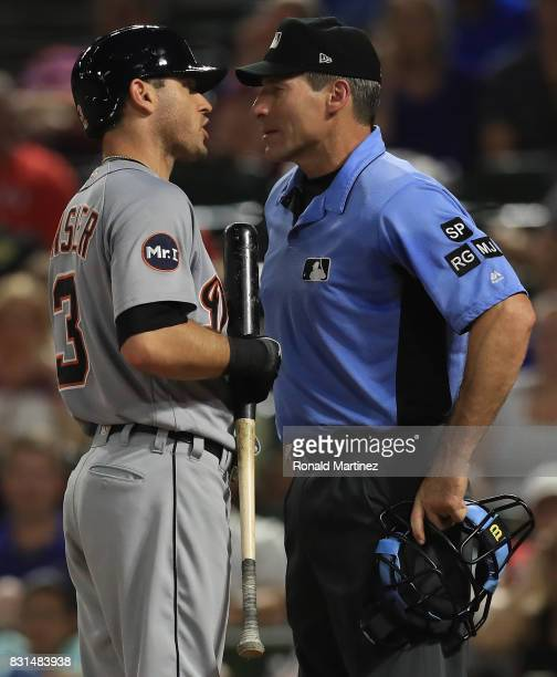 Ian Kinsler of the Detroit Tigers after being ejected by home plate umpire Angel Hernandez during play against the Texas Rangers at Globe Life Park...