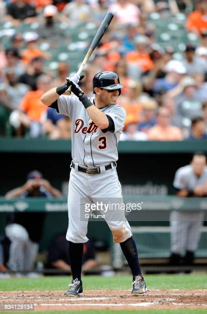 Ian Kinsler of the Detroit Tigers bats against the Baltimore Orioles at Oriole Park at Camden Yards on August 6 2017 in Baltimore Maryland