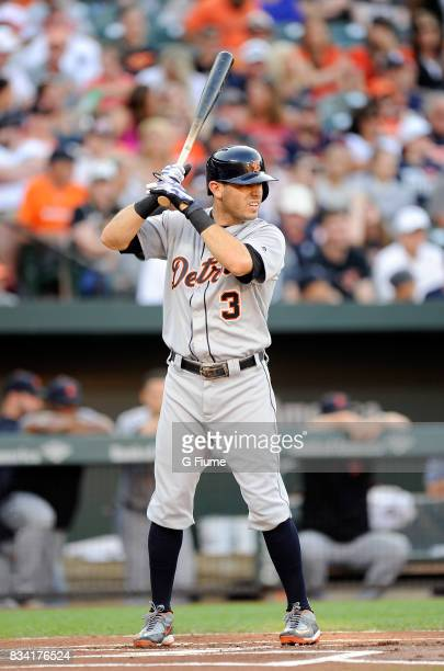 Ian Kinsler of the Detroit Tigers bats against the Baltimore Orioles at Oriole Park at Camden Yards on August 5 2017 in Baltimore Maryland