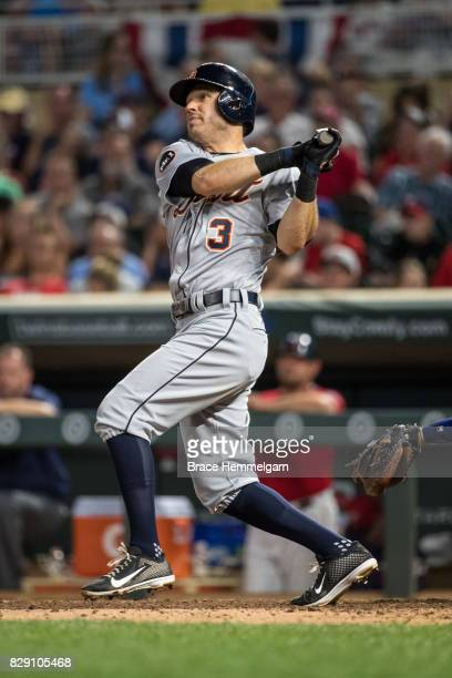 Ian Kinsler of the Detroit Tigers bats against the Minnesota Twins on July 21 2017 at Target Field in Minneapolis Minnesota The Tigers defeated the...