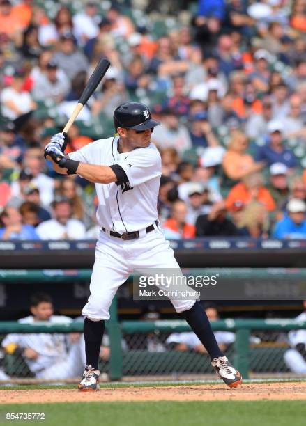 Ian Kinsler of the Detroit Tigers bats during game one of a double header against the Cleveland Indians at Comerica Park on September 1 2017 in...