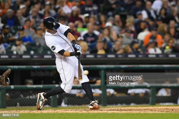 Ian Kinsler of the Detroit Tigers bats during game two of a double header against the Cleveland Indians at Comerica Park on September 1 2017 in...