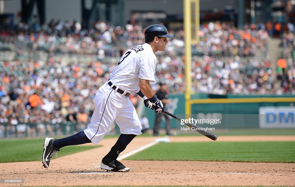 <a gi-track='captionPersonalityLinkClicked' href=/galleries/search?phrase=Ian+Kinsler&family=editorial&specificpeople=538104 ng-click='$event.stopPropagation()'>Ian Kinsler</a> #3 of the Detroit Tigers bats during the game against the Cleveland Indians at Comerica Park on July 20, 2014 in Detroit, Michigan. The Tigers defeated the Indians 5-1.