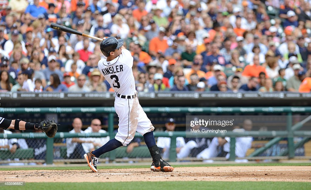 <a gi-track='captionPersonalityLinkClicked' href=/galleries/search?phrase=Ian+Kinsler&family=editorial&specificpeople=538104 ng-click='$event.stopPropagation()'>Ian Kinsler</a> #3 of the Detroit Tigers bats during the game against the Chicago White Sox at Comerica Park on July 31, 2014 in Detroit, Michigan. The White Sox defeated the Tigers 7-4.