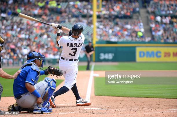 Ian Kinsler of the Detroit Tigers bats during the game against the Kansas City Royals at Comerica Park on June 29 2017 in Detroit Michigan The Tigers...