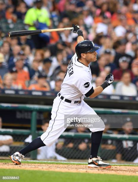 Ian Kinsler of the Detroit Tigers bats during the game against the New York Yankees at Comerica Park on August 23 2017 in Detroit Michigan The...