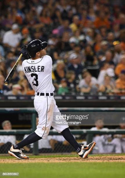 Ian Kinsler of the Detroit Tigers bats during the game against the Minnesota Twins at Comerica Park on September 22 2017 in Detroit Michigan The...