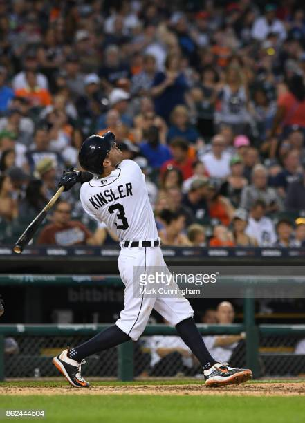 Ian Kinsler of the Detroit Tigers bats during the game against the Minnesota Twins at Comerica Park on September 23 2017 in Detroit Michigan The...