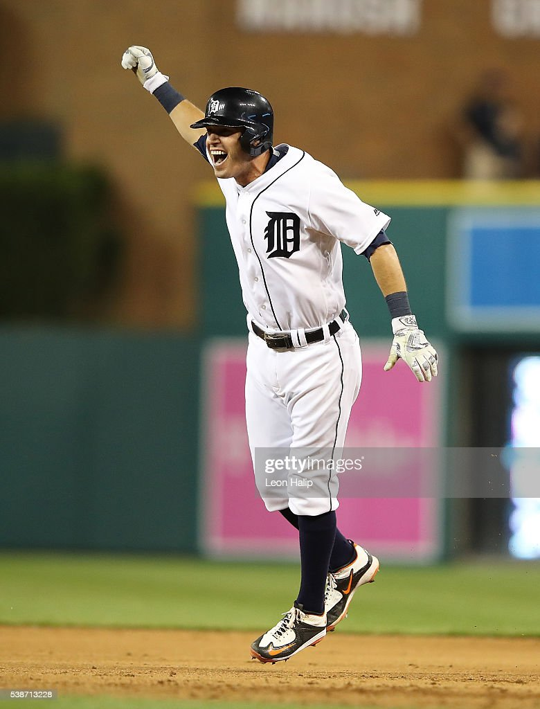 <a gi-track='captionPersonalityLinkClicked' href=/galleries/search?phrase=Ian+Kinsler&family=editorial&specificpeople=538104 ng-click='$event.stopPropagation()'>Ian Kinsler</a> #3 of the Detroit Tigers celebrates the game winning single in the tenth inning of the game against the Toronto Blue Jay on June 7, 2016 at Comerica Park in Detroit, Michigan. The Tigers defeated the Blue Jays 3-2.