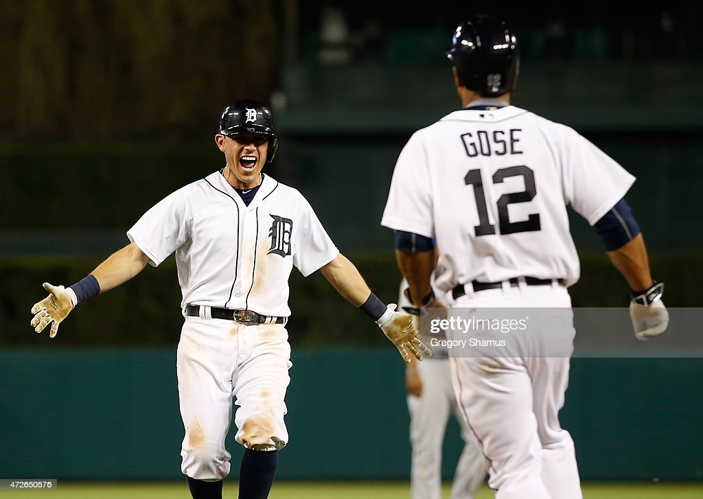 <a gi-track='captionPersonalityLinkClicked' href=/galleries/search?phrase=Ian+Kinsler&family=editorial&specificpeople=538104 ng-click='$event.stopPropagation()'>Ian Kinsler</a> #3 of the Detroit Tigers celebrates with <a gi-track='captionPersonalityLinkClicked' href=/galleries/search?phrase=Anthony+Gose&family=editorial&specificpeople=6906091 ng-click='$event.stopPropagation()'>Anthony Gose</a> #12 after beating the Kansas City Royals in the bottom of the ninth inning at Comerica Park on May 8, 2015 in Detroit, Michigan.