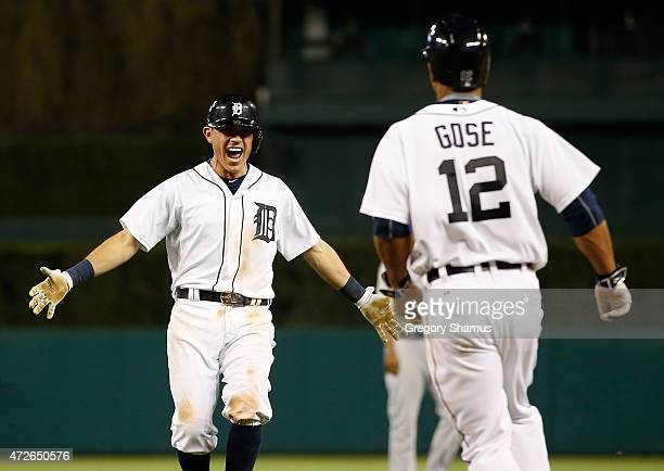 Ian Kinsler of the Detroit Tigers celebrates with Anthony Gose after beating the Kansas City Royals in the bottom of the ninth inning at Comerica...