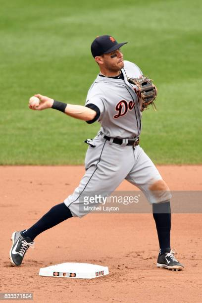 Ian Kinsler of the Detroit Tigers fields a ground ball during a baseball game against the Baltimore Orioles at Oriole Park at Camden Yards on August...