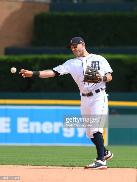 Ian Kinsler of the Detroit Tigers fields during game one of a double header against the Cleveland Indians at Comerica Park on September 1 2017 in...