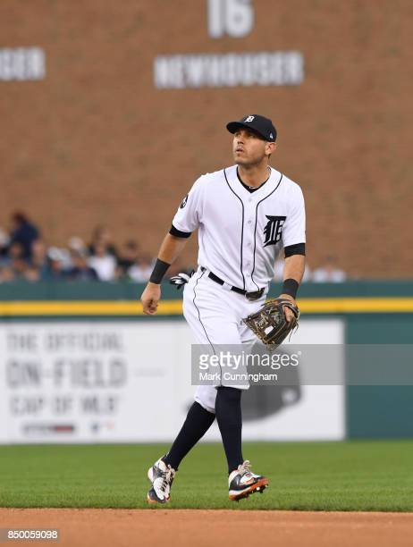 Ian Kinsler of the Detroit Tigers fields during the game against the New York Yankees at Comerica Park on August 23 2017 in Detroit Michigan The...