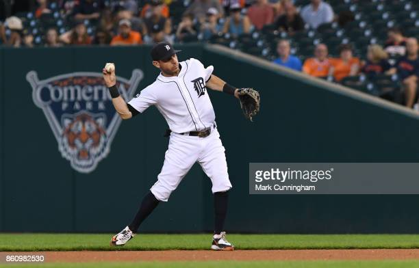 Ian Kinsler of the Detroit Tigers fields during the game against the Minnesota Twins at Comerica Park on September 22 2017 in Detroit Michigan The...