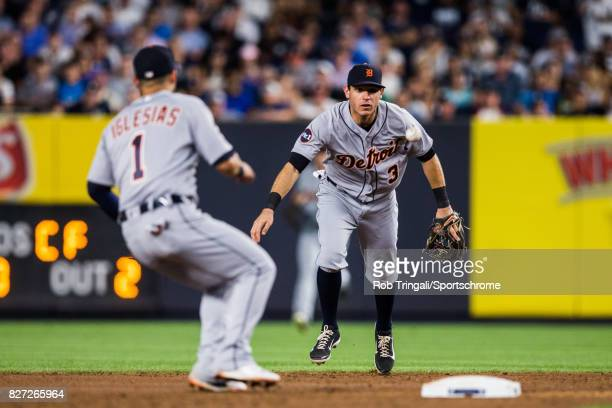 Ian Kinsler of the Detroit Tigers fields his position during the game against the New York Yankees at Yankee Stadium on July 31 2017 in the Bronx...