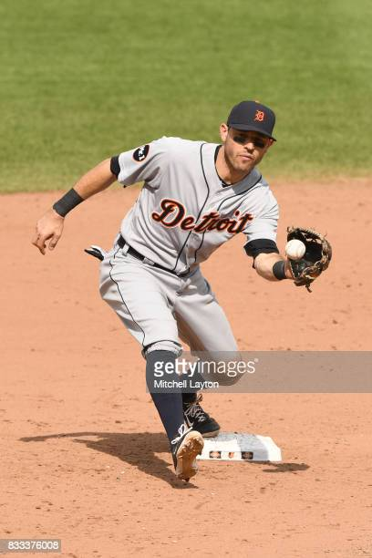 Ian Kinsler of the Detroit Tigers forces an out at second base during a baseball game against the Baltimore Orioles at Oriole Park at Camden Yards on...