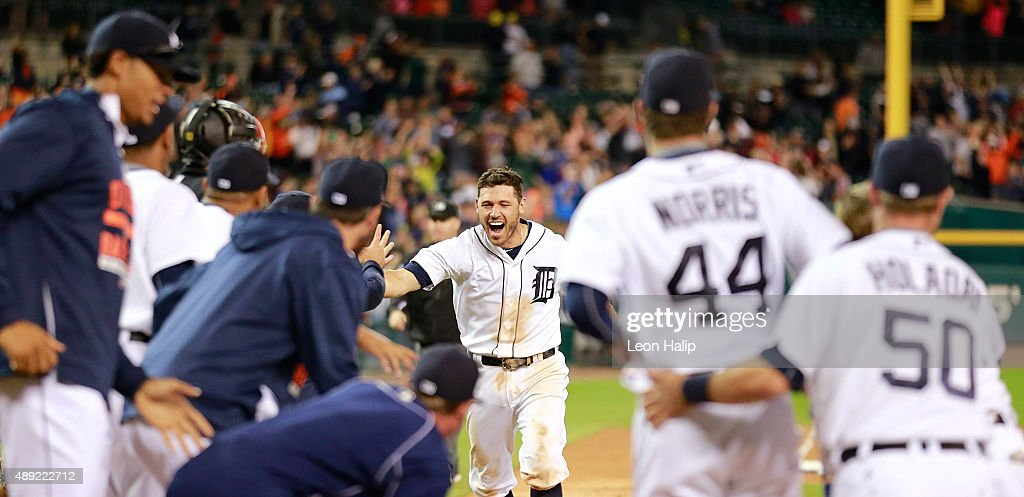 Ian Kinsler of the Detroit Tigers hits a game winning home run to left field in the eleventh inning of the game against the Kansas City Royals and...