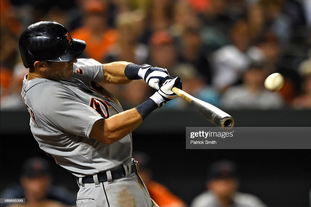 <a gi-track='captionPersonalityLinkClicked' href=/galleries/search?phrase=Ian+Kinsler&family=editorial&specificpeople=538104 ng-click='$event.stopPropagation()'>Ian Kinsler</a> #3 of the Detroit Tigers hits a home run against the Baltimore Orioles in the eighth inning at Oriole Park at Camden Yards on May 12, 2014 in Baltimore, Maryland. The Detroit Tigers won, 4-1.