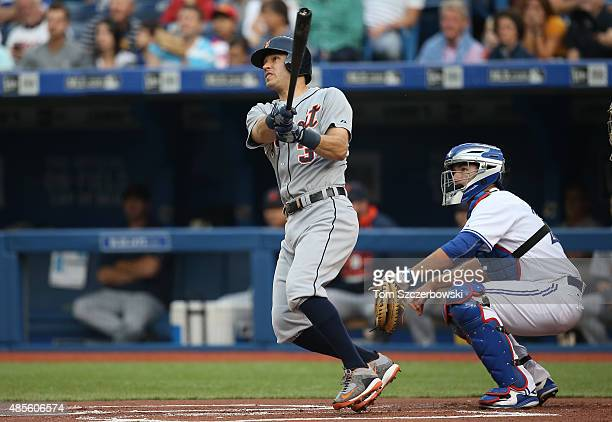Ian Kinsler of the Detroit Tigers hits a solo home run in the first inning during MLB game action against the Toronto Blue Jays on August 28 2015 at...