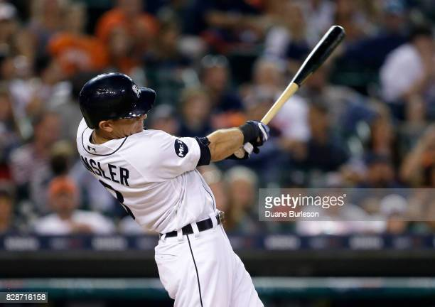 Ian Kinsler of the Detroit Tigers hits a threerun double against the Pittsburgh Pirates during the eighth inning of an interleague game at Comerica...