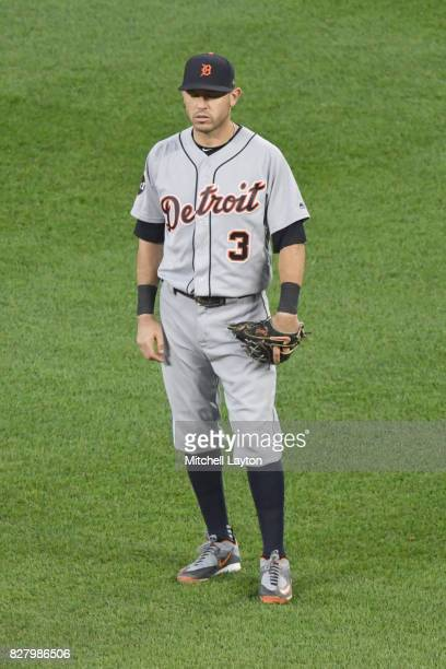 Ian Kinsler of the Detroit Tigers looks on during a baseball game against the Baltimore Orioles at Oriole Park at Camden Yards on August 5 2017 in...