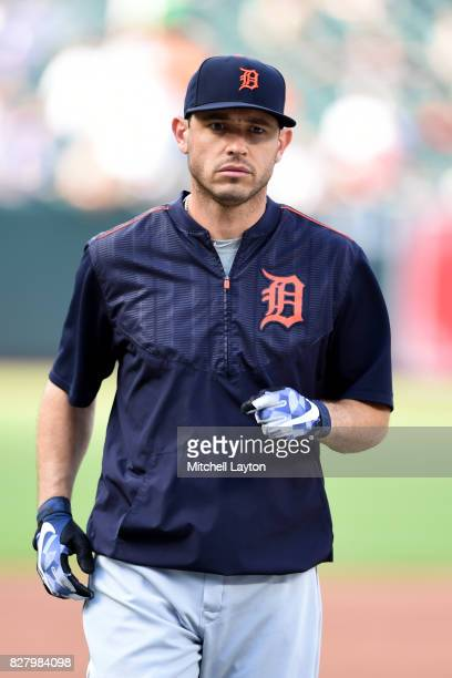 Ian Kinsler of the Detroit Tigers looks on during batting practice of a baseball game against the Baltimore Orioles at Oriole Park at Camden Yards on...