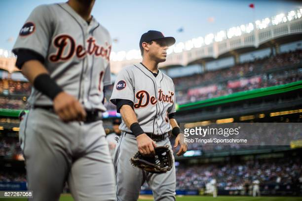 Ian Kinsler of the Detroit Tigers looks on during the game against the New York Yankees at Yankee Stadium on July 31 2017 in the Bronx borough of New...