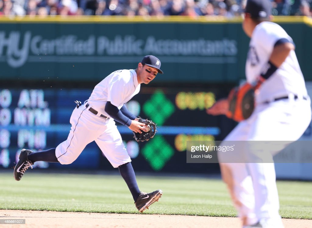 Ian Kinsler #3 of the Detroit Tigers makes the play on the ground ball during the seventh inning of the game against the Los Angeles Angels of Anaheim at Comerica Park on April 19, 2014 in Detroit, Michigan. The Tigers defeated the Angels 5-2.