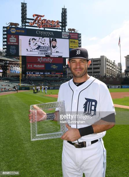 Ian Kinsler of the Detroit Tigers poses for a photo with his 2017 Heart Hustle Award prior to the game against the Chicago White Sox at Comerica Park...
