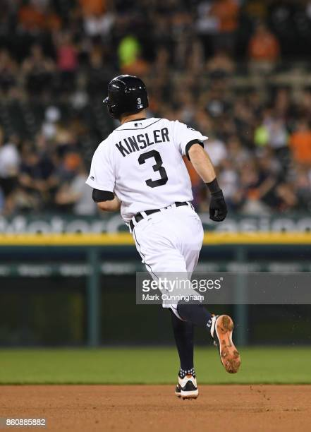 Ian Kinsler of the Detroit Tigers runs the bases during the game against the Minnesota Twins at Comerica Park on September 22 2017 in Detroit...