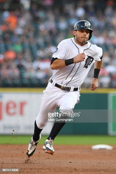 Ian Kinsler of the Detroit Tigers runs the bases during the game against the Minnesota Twins at Comerica Park on September 23 2017 in Detroit...