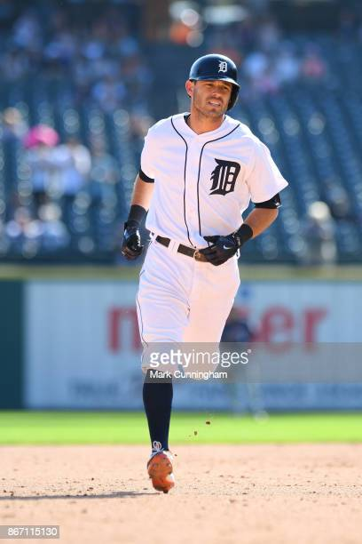 Ian Kinsler of the Detroit Tigers runs the bases during the game against the Minnesota Twins at Comerica Park on September 24 2017 in Detroit...