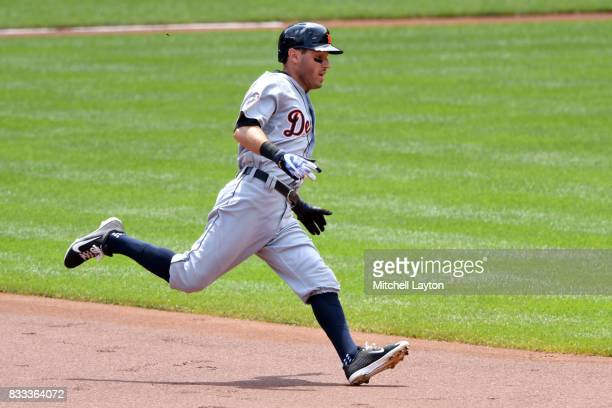 Ian Kinsler of the Detroit Tigers runs to second base during a baseball game against the Baltimore Orioles at Oriole Park at Camden Yards on August 6...