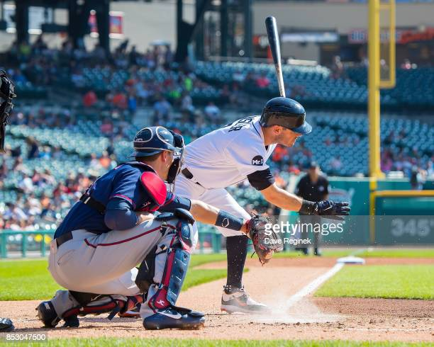Ian Kinsler of the Detroit Tigers strikes out in the first inning against the Minnesota Twins during a MLB game at Comerica Park on September 24 2017...