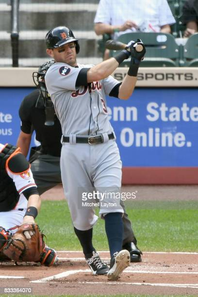 Ian Kinsler of the Detroit Tigers takes a swing during a baseball game against the Baltimore Orioles at Oriole Park at Camden Yards on August 6 2017...