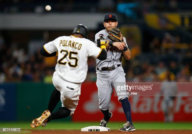 Ian Kinsler of the Detroit Tigers turns a double play against the Pittsburgh Pirates during interleague play at PNC Park on August 7 2017 in...