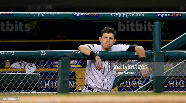 Ian Kinsler of the Detroit Tigers watches from the dugout during the ninth inning of a 94 loss to the Minnesota Twins at Comerica Park on August 11...