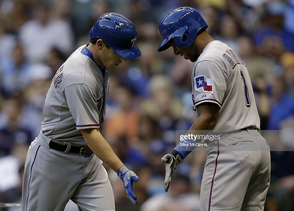 <a gi-track='captionPersonalityLinkClicked' href=/galleries/search?phrase=Ian+Kinsler&family=editorial&specificpeople=538104 ng-click='$event.stopPropagation()'>Ian Kinsler</a> #5 of the Texas Rangers celebrates with <a gi-track='captionPersonalityLinkClicked' href=/galleries/search?phrase=Elvis+Andrus&family=editorial&specificpeople=4845974 ng-click='$event.stopPropagation()'>Elvis Andrus</a> #1 after hitting a solo home run in the top of the second inning against the Milwaukee Brewers at Miller Park on May 08, 2013 in Milwaukee, Wisconsin.