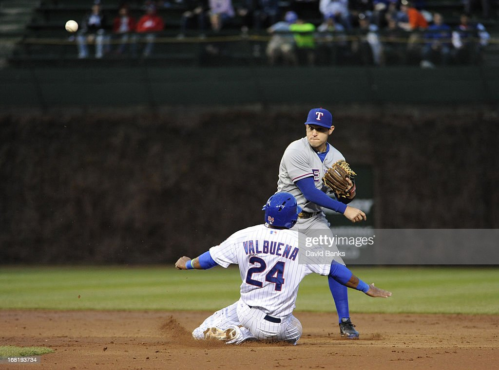 <a gi-track='captionPersonalityLinkClicked' href=/galleries/search?phrase=Ian+Kinsler&family=editorial&specificpeople=538104 ng-click='$event.stopPropagation()'>Ian Kinsler</a> #5 of the Texas Rangers forces out Luis Valbuena #24 of the Chicago Cubs during the second inning on May 6, 2013 at Wrigley Field in Chicago, Illinois.