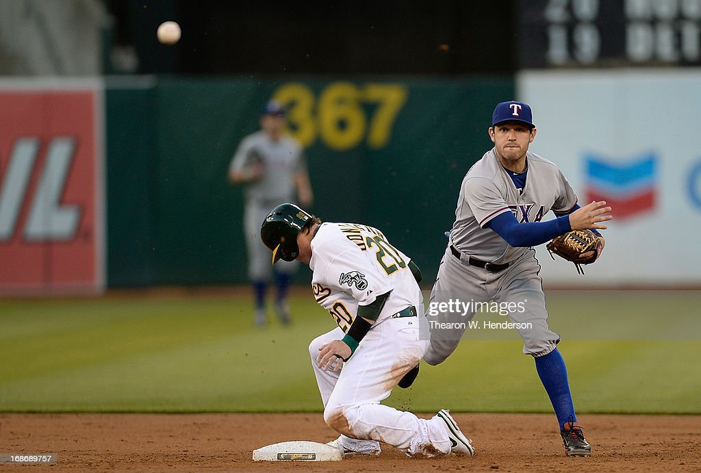 <a gi-track='captionPersonalityLinkClicked' href=/galleries/search?phrase=Ian+Kinsler&family=editorial&specificpeople=538104 ng-click='$event.stopPropagation()'>Ian Kinsler</a> #5 of the Texas Rangers gets the put out at second base on <a gi-track='captionPersonalityLinkClicked' href=/galleries/search?phrase=Josh+Donaldson&family=editorial&specificpeople=4959442 ng-click='$event.stopPropagation()'>Josh Donaldson</a> #20 of the Oakland Athletics, but Kinsler's throw to first base was not in time to complete the double play in the second inning at O.co Coliseum on May 13, 2013 in Oakland, California.