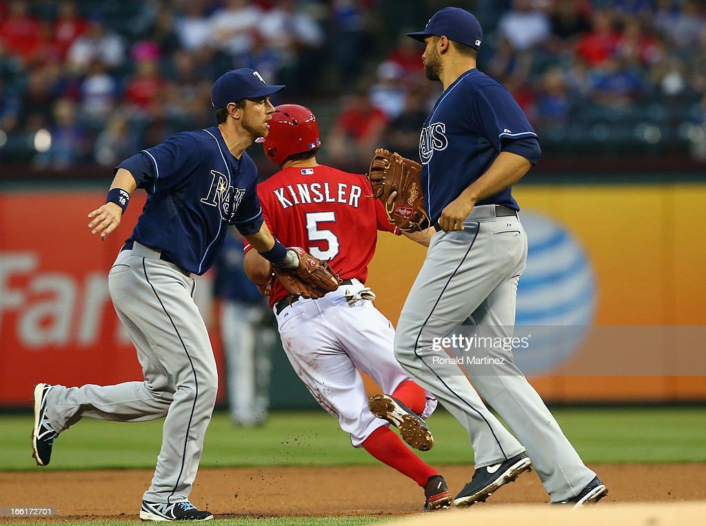 <a gi-track='captionPersonalityLinkClicked' href=/galleries/search?phrase=Ian+Kinsler&family=editorial&specificpeople=538104 ng-click='$event.stopPropagation()'>Ian Kinsler</a> #5 of the Texas Rangers is tagged out by <a gi-track='captionPersonalityLinkClicked' href=/galleries/search?phrase=Ben+Zobrist&family=editorial&specificpeople=2120037 ng-click='$event.stopPropagation()'>Ben Zobrist</a> #18 of the Tampa Bay Rays at Rangers Ballpark in Arlington on April 8, 2013 in Arlington, Texas.