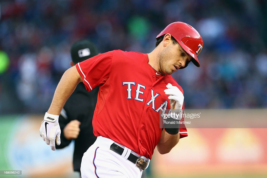 Ian Kinsler #5 of the Texas Rangers runs the bases after hitting a solo homerun against the Boston Red Sox at Rangers Ballpark in Arlington on May 4, 2013 in Arlington, Texas.