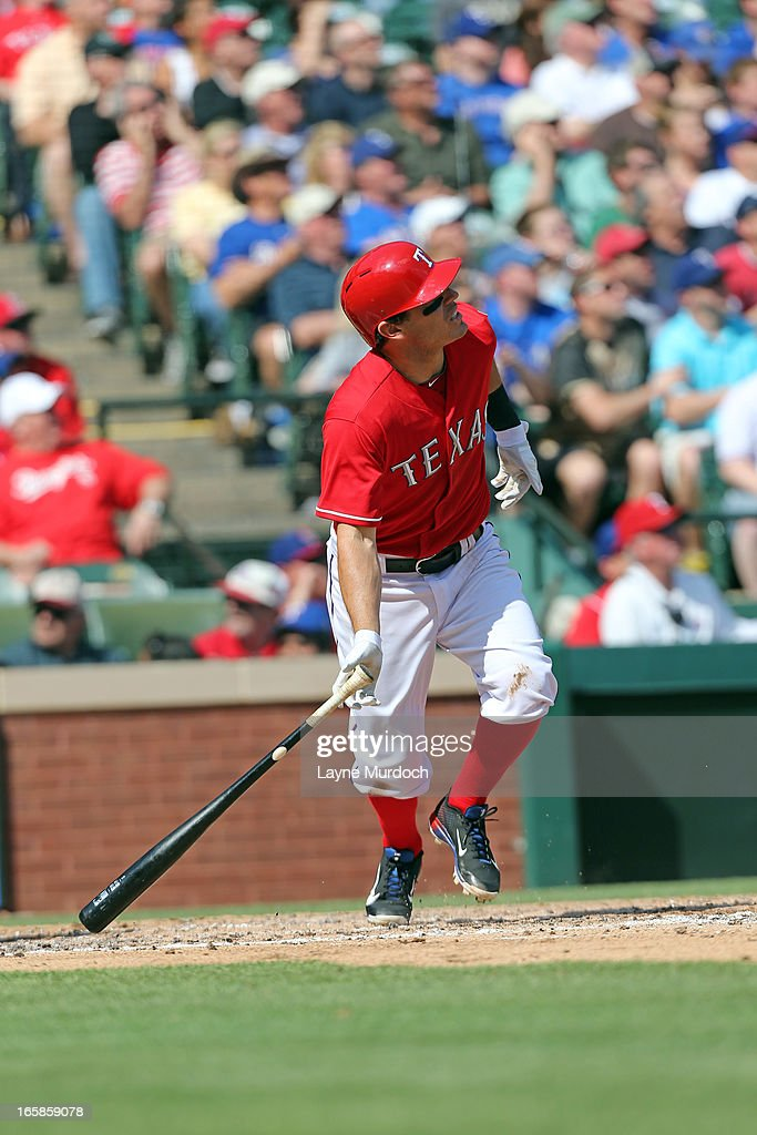 <a gi-track='captionPersonalityLinkClicked' href=/galleries/search?phrase=Ian+Kinsler&family=editorial&specificpeople=538104 ng-click='$event.stopPropagation()'>Ian Kinsler</a> #5 of the Texas Rangershits a home run off of Tommy Hanson #48 of the Los Angeles Angels of Anaheim in the bottom of the 3rd inning on April 6, 2013 at the Rangers Ballpark in Arlington, Texas.